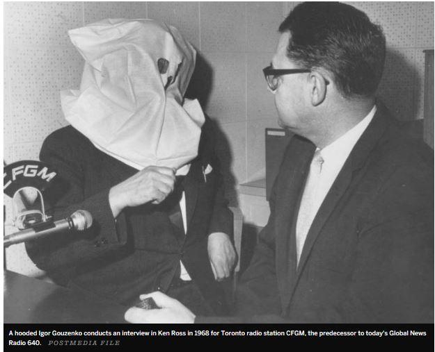 A hooded Igor Gouzenko in 1968