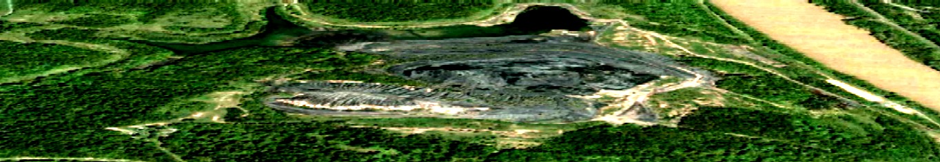Somewhat Distorted Aerial View of the Nemacolin Mine Slate Dump with the Monongahela River on the Right