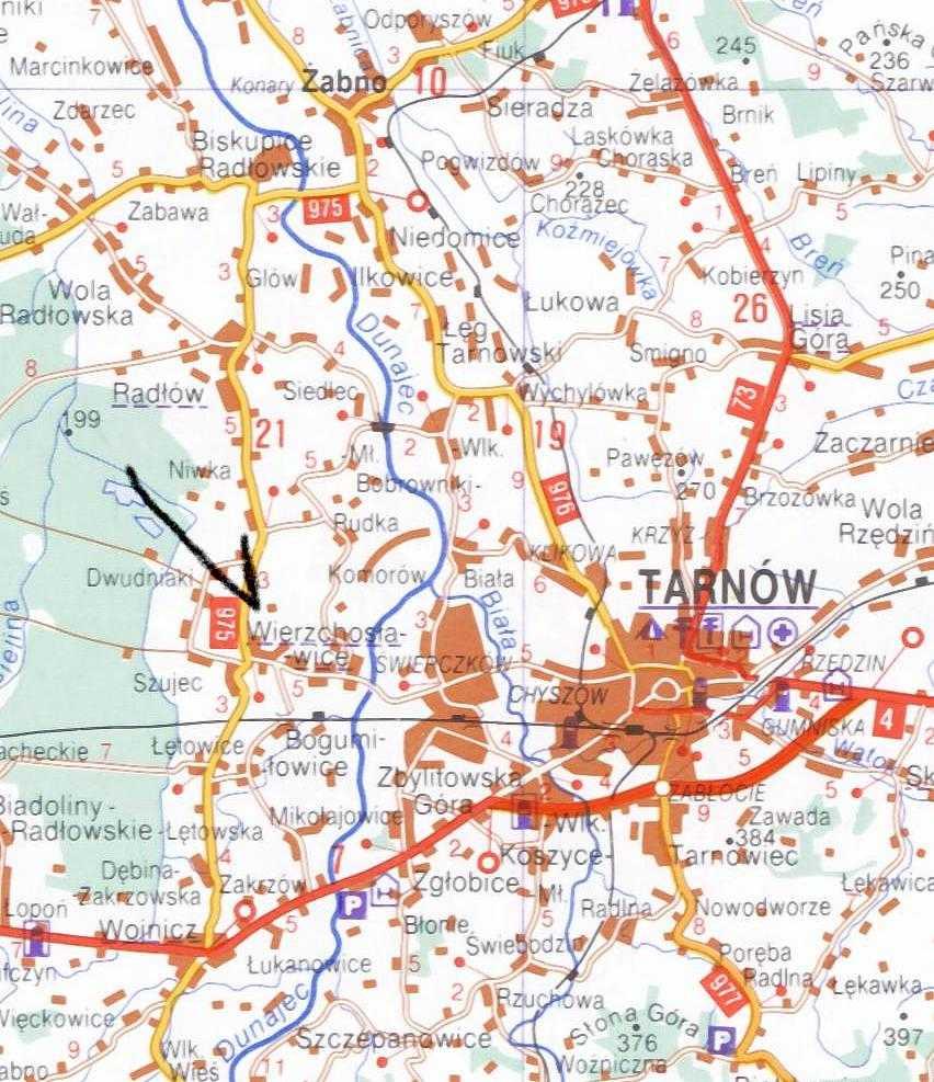 Wierzchoslawice Poland: just to the West of Tarnow